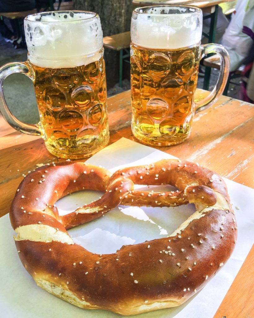 Large beers and pretzel in Bavaria, Germany - I Love Munich