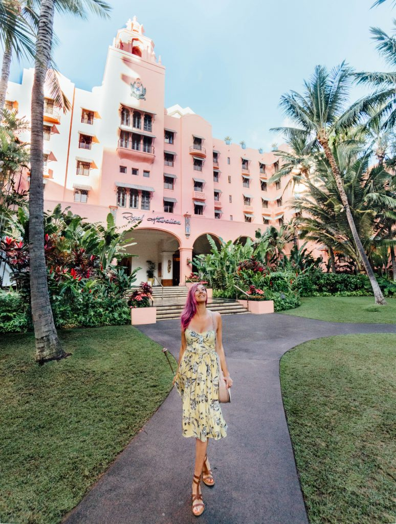 best things to do in Oahu; girl wearing yellow dress at The Royal Hawaiian